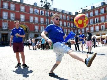 La afición del Leicester, en Madrid