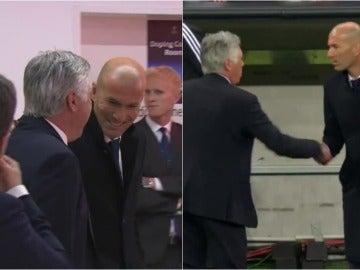 El saludo entre Ancelotti y Zidane