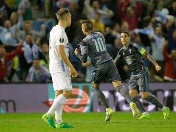 Iago Aspas celebra el segundo gol del Celta ante el Genk