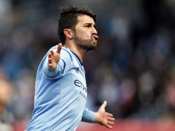 David Villa celebra un gol