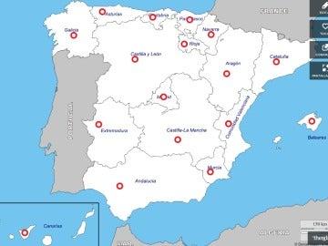 Mapa de bebés dados en adopción en España