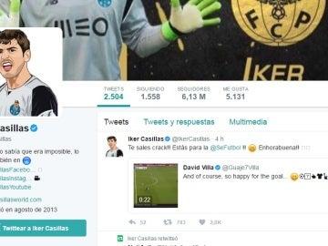 Tuit de Casillas sobre el gol de Villa en la MLS