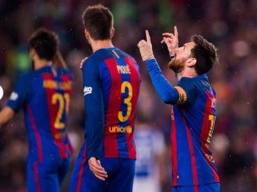Leo Messi celebra un gol ante la Real Sociedad