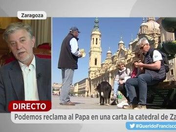 """Frame 177.68702 de: El alcalde de Zaragoza:  """"Al Papa no le reclamo nada, le puse de antecedentes de lo que vamos a hacer en la ciudad"""""""