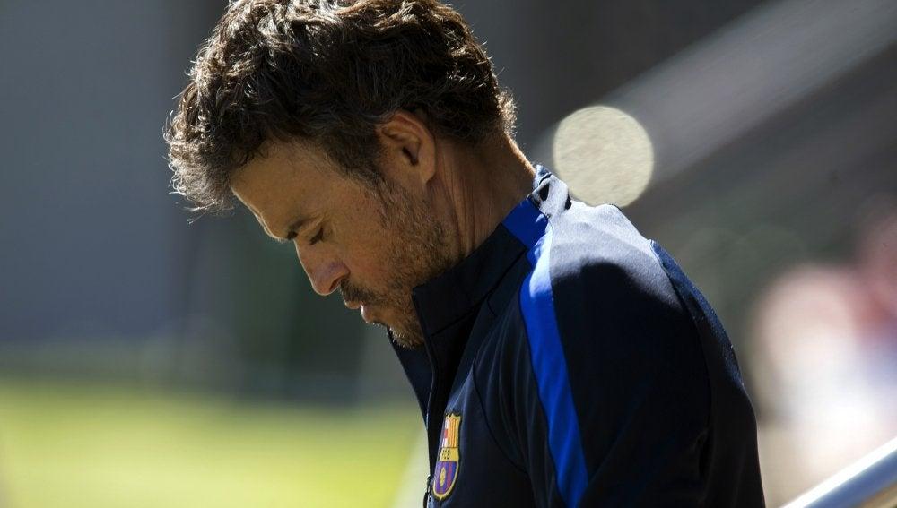 Luis Enrique, durante el entrenamiento del Barcelona previo al Clásico