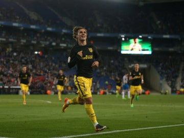 Griezmann celebra su gol contra el Espanyol
