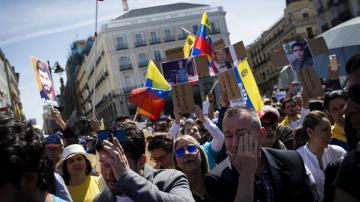Manifestación para apoyar al pueblo venezolano en la Puerta del Sol