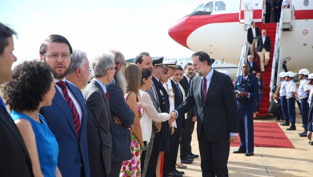 Mariano Rajoy en su llegada a Brasil