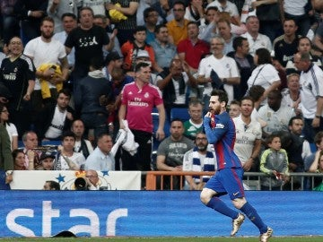 Leo Messi celebrando su gol frente al Real Madrid