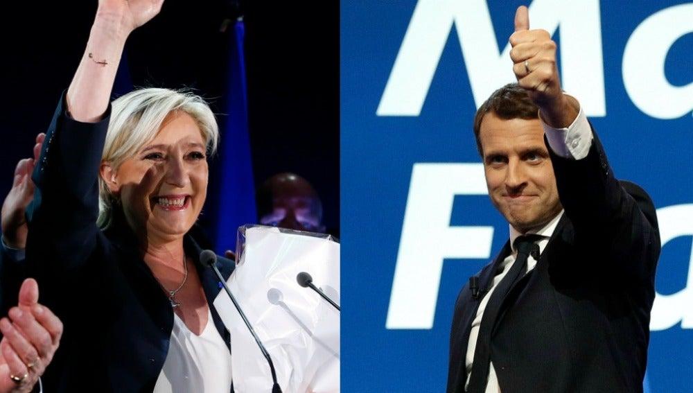 Marine Le Pen y Emmanuel Macron