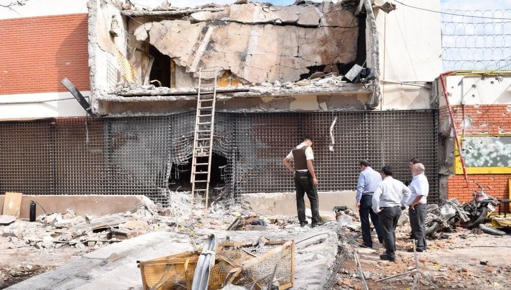Fotografía de la sede de la empresa privada de caudales Prosegur tras un atraco anoche