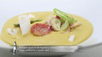 Crema de castañas y vegetales con setas