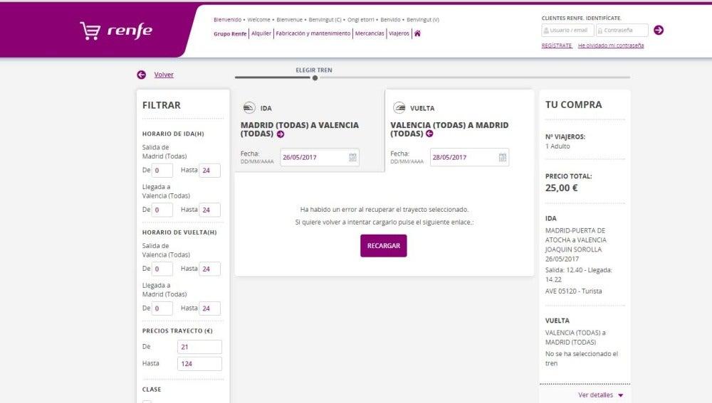 Mensaje de error en la web de compra de Renfe