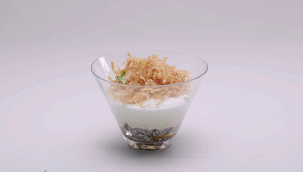 Arroz con leche en dos texturas con churros