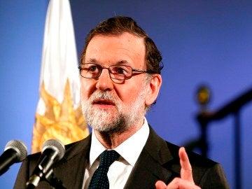 Mariano Rajoy ante los medios en Montevideo