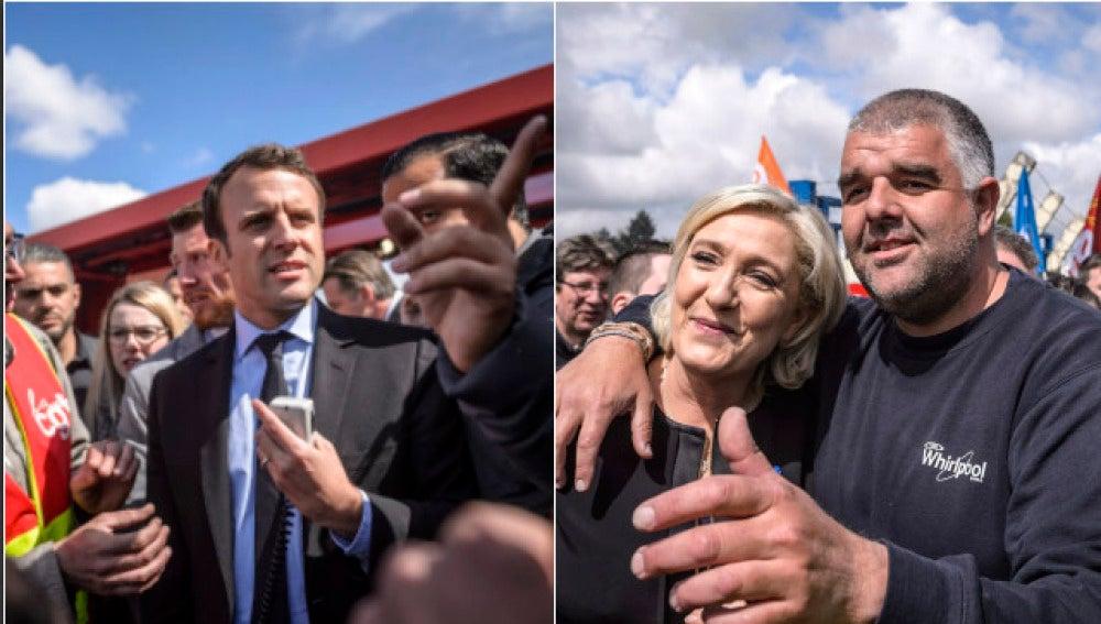 Emmanuel Macron y Marine Le Pen en sus respectivas visitas a los huelguistas de Whirpool