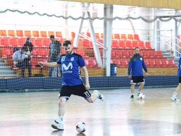 Los jugadores del Inter Movistar durante el entrenamiento