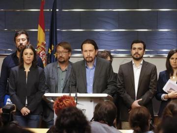Pablo Iglesias durante la rueda de prensa