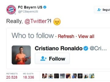 Twitter sugiere al Bayern seguir a Cristiano Ronaldo