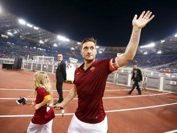 Francesco Totti, tras un partido con la Roma