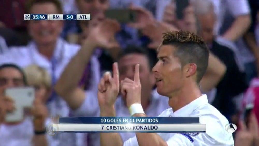 Frame 17.914736 de: '¡Silbidos no, aplausos': El gesto de Cristiano Ronaldo a la grada tras marcar el 3-0 contra el Atlético