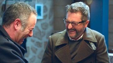 Iker Galartza y Gorka Aguinagalde, risas contagiosas e imparables en el rodaje de 'Allí Abajo'