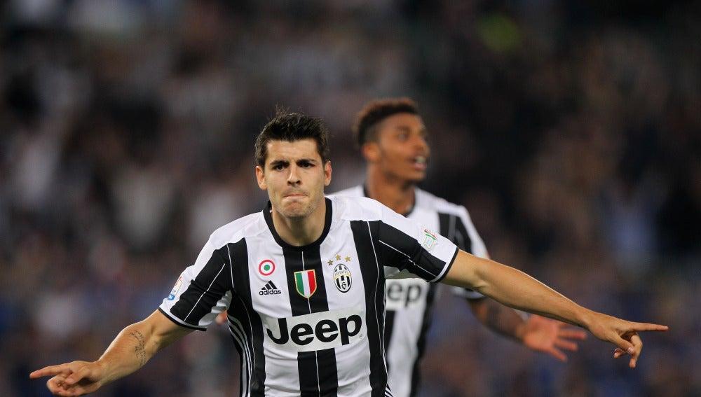 Morata celebra un gol con la Juventus