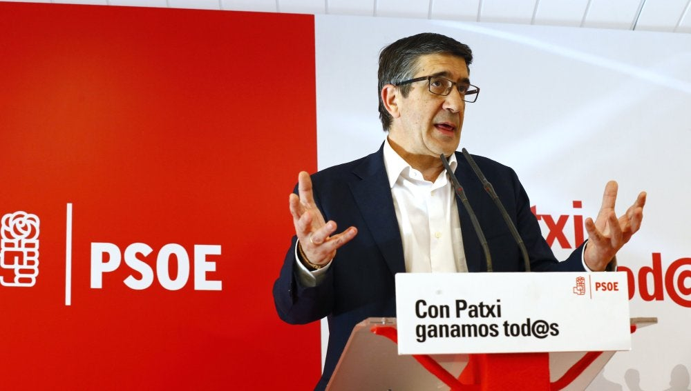 El candidato a las primarias del PSOE Patxi López en una rueda de prensa celebrada en Madri