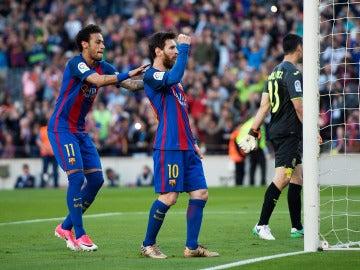 Leo Messi celebra un gol ante el Villarreal