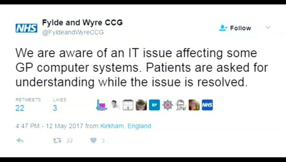 Frame 19.73569 de: El Gobierno británico confirma un ataque informático a gran escala en los hospitales públicos