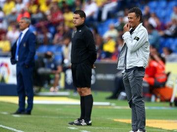 Luis Enrique, en la banda del estadio de Gran Canaria