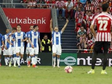 Los jugadores del Leganés celebran el empate contra el Athletic