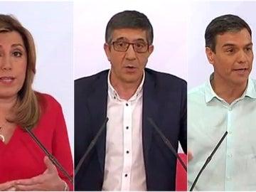 Díaz, López y Sánchez en un momento del debate