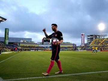 Leo Messi, en el Estadio de Gran Canaria