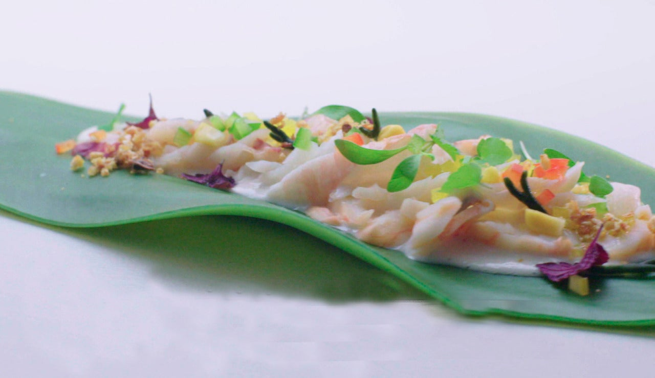 Tiradito thai de mariscos
