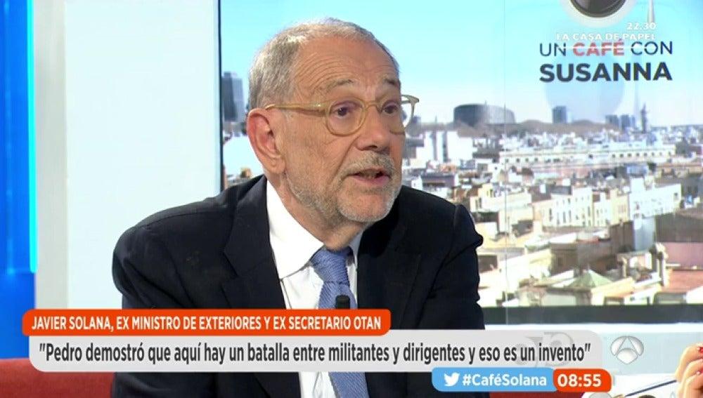"""Frame 1203.00275 de: Solana: """"Deberíamos encontrar sólo al secretario general y, cuando toque, pensar en quien lleva la representación del PSOE a las instituciones"""""""