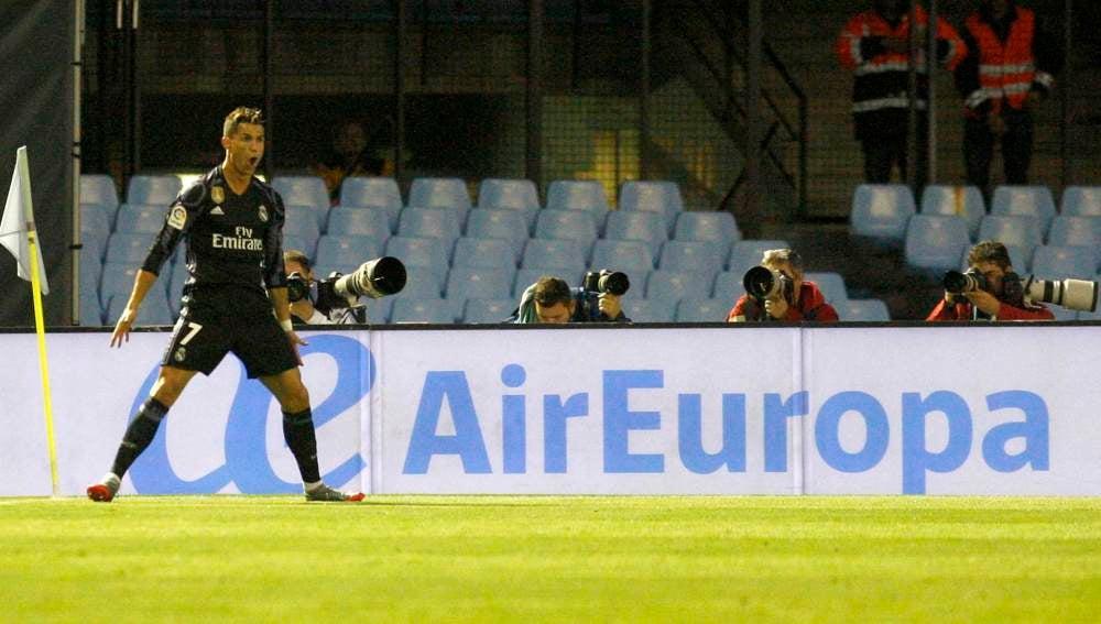 Cristiano Ronaldo en el partido contra el Celta