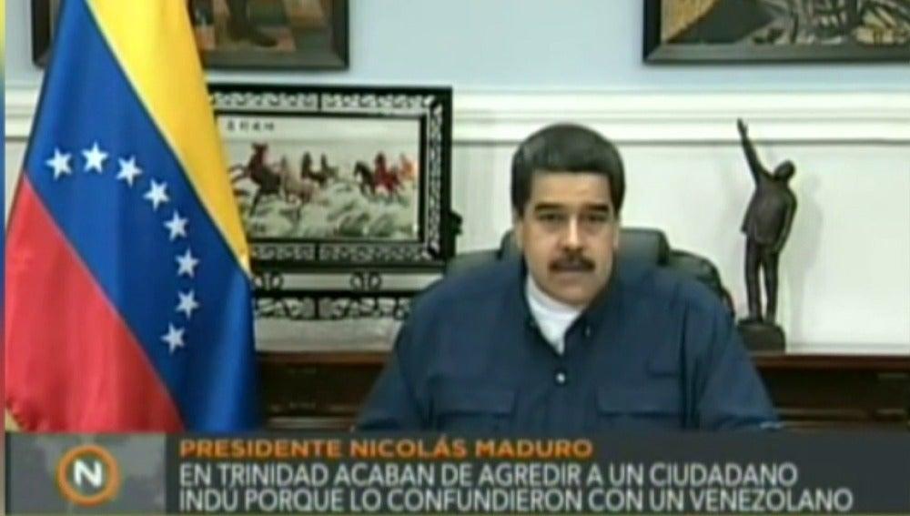 """Frame 3.886107 de: Nicolás Maduro, al rey Felipe VI: """"Ponga orden en el racismo y el fascismo que surge de la derecha española"""""""