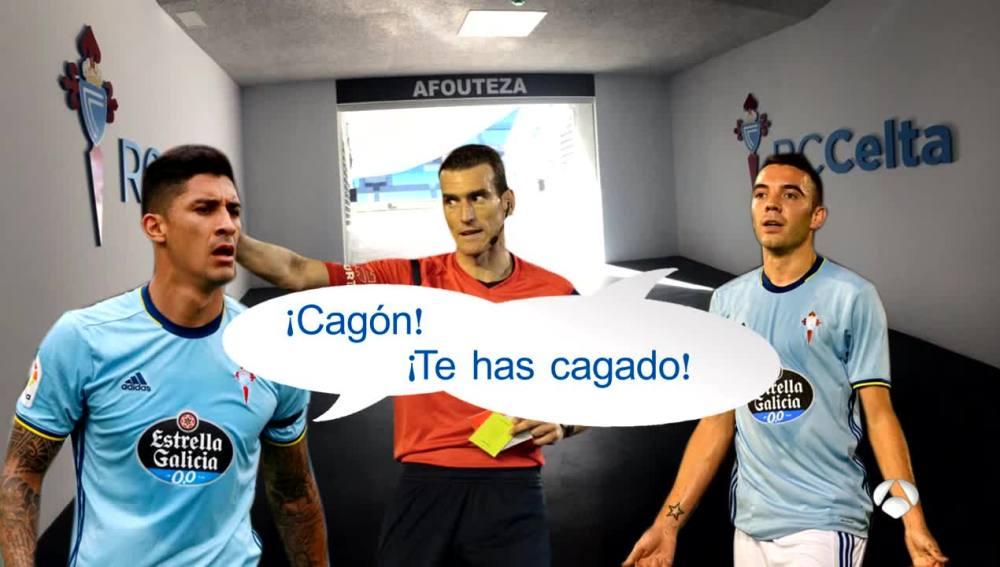 Aspas y 'Tucu' Hernández increpan a Martínez Munuera