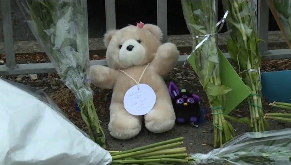 Frame 25.399429 de: Los compañeros de Saffie, una niña de ocho años, le rinden homenaje en las puertas de su colegio