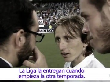 Gareth Bale y Luka Modric al enterarse de que no hay Copa de Liga