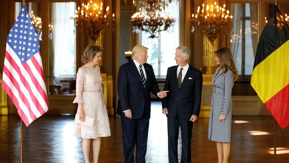Trump a su llegada a Bélgica