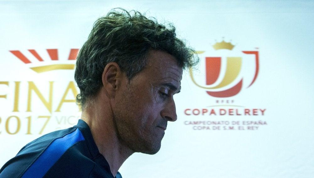Luis Enrique, en la sala de prensa antes de la final de la Copa del Rey