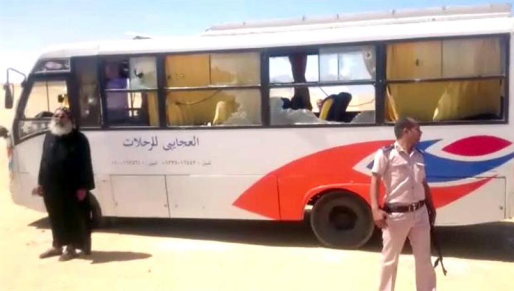 El autobús en el que viajaban cristianos coptos en Egipto