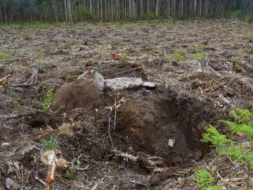 Desperfectos causados en el lugar donde estaba el dolmen