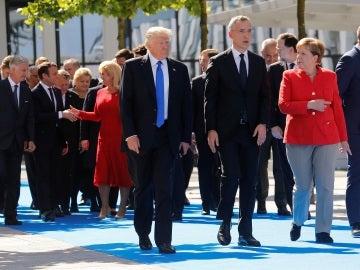 Donald Trump junto a Angela Merkel
