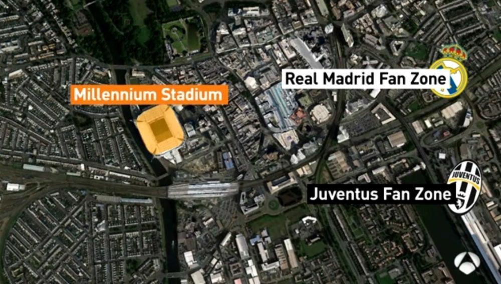 Mapa de las fan zone de Real Madrid y Juventus en Cardiff