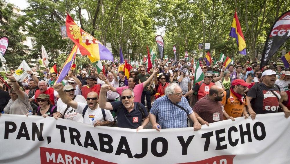 Manifestación que las Marchas de la Dignidad, que aglutinan a cuatro columnas procedentes de distintas partes de España