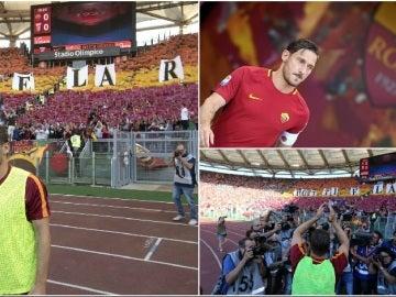 Francesco Totti, en su despedida en el Olímpico