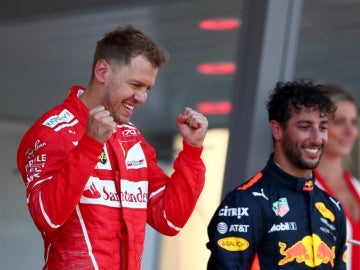 Sebastian Vettel celebra una victoria